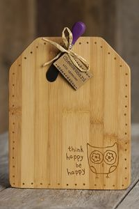 Cheese Board Owl Think Happy be Happpy