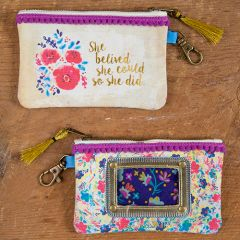 Id Pouch She Believed She Could Pink