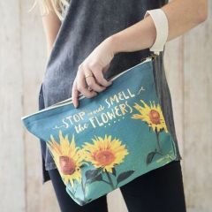 Mini Canvas Pouch Stop And Smell The Flowers