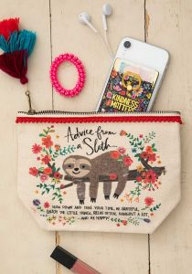 Canvas Pouch Advice From A Sloth