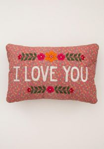 Embroidered Throw Pillow I Love You