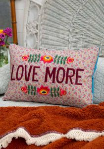 Embroidered Throw Pillow Love More