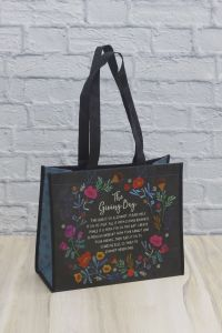 Giving Bag L Black Floral Wreath