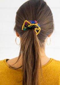 Scrunchies Purp Floral/Gold