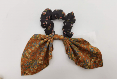 Mixed Print Tie Scrunchie Black/Yellow