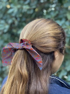 Mixed Print Tie Scrunchie Orange/Purple
