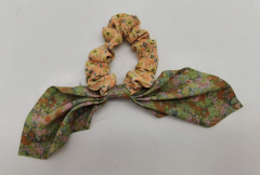 Mixed Print Tie Scrunchie Pink/Green