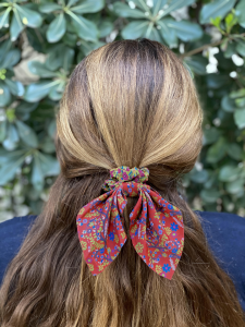 Mixed Print Tie Scrunchie Yellow/Red