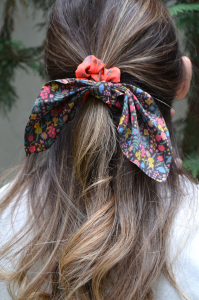 Mixed Print Tie Scrunchie Coral/Black